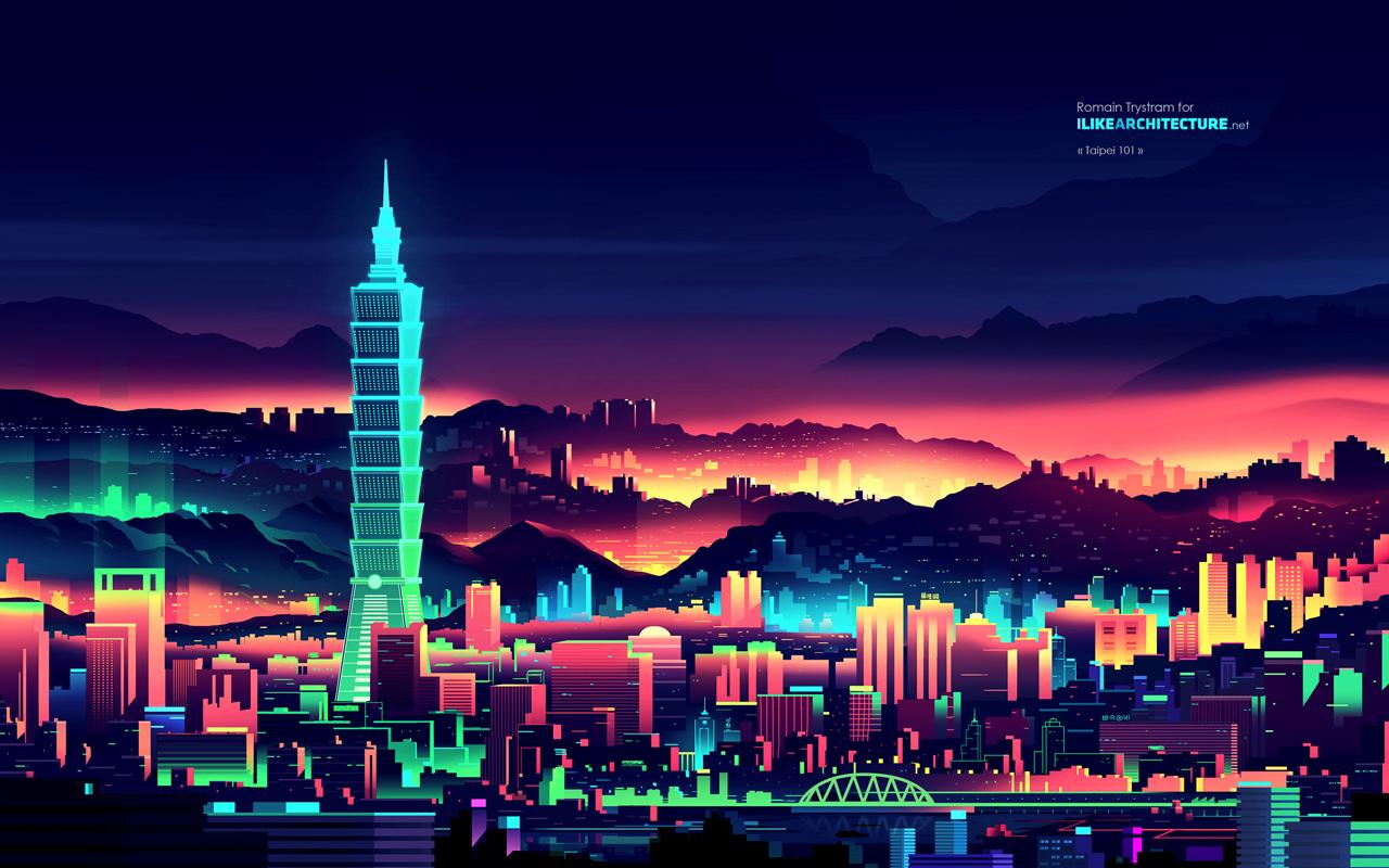 Taipei-101-Taipei-ILikeArchitecture Famous Landmarks Wallpaper by Romain Trystram