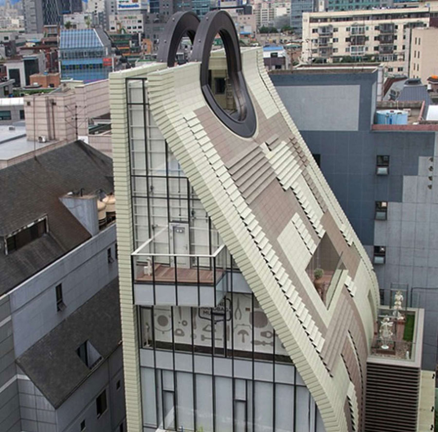 museum architecture weird handbag korea south buildings seoul shaped unique building simone purse handbags exterior beyond archiobjects 핸드백 박물관 스테이지