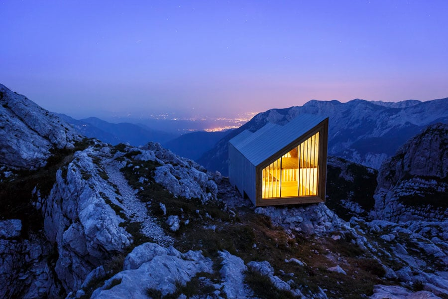 Reconstructed-bivouac-in-the-Kamnik-Alps,-Slovenia